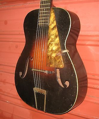 "1930s Harmony ""Vogue F"" Archtop Acoustic Guitar. Plays, but Repair Project."