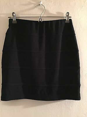 Mini Skirt Black Ladies Size 10 Marks And Spencer Stretch