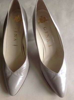 Vintage Gina London Court Shoes 7 Silver White Pearlised Wedding
