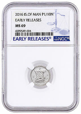 2016 Isle of Man 1/10 oz. Platinum Noble NGC MS69 ER Early Releases SKU42659