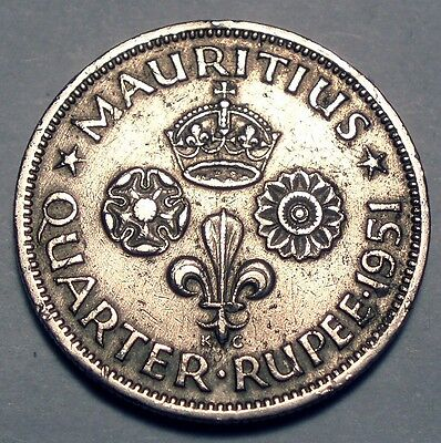 Mauritius Crown Colony 1/4 Rupee 1951