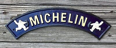 Michelin Tires with Bibendum Figurines Vintage Bowed Cast Iron Sign