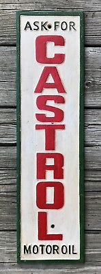 """Ask For CASTROL Motor Oil"" Vintage Cast Iron Sign, 23"" x 6.25"""