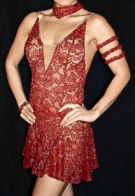 Women's Latin dance dress in persimmon stretch lace with Swarovski rhinestones