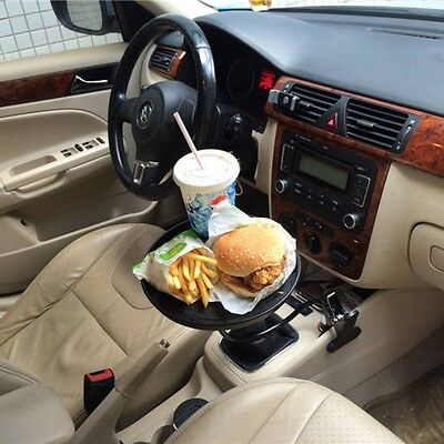 Drink Food Cup Tray Mount Holder Stand For Car Travel Auto Swivel Black White