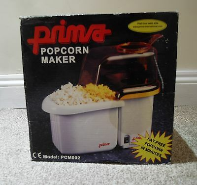 Boxed Prima Hot Air Popcorn Maker=Pop Corn=Pcm002=Instruction Maual