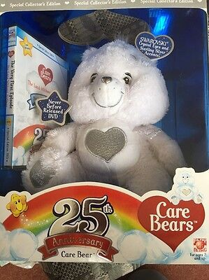 Collector's Edition 25th Anniversary Care Bear Swarovski & DVD BNIB Rare!!
