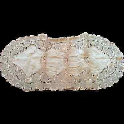 Vintage Brazil handmade ornate needle-lace runner linen & cotton embroidery nice