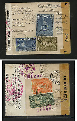 Haiti double censor small cover registered to US  1944                    JS0113