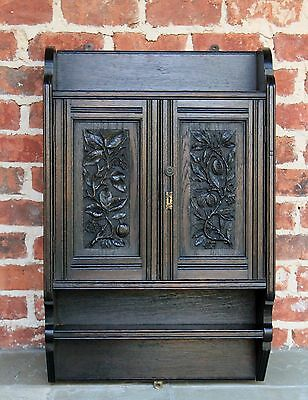 Antique English Highly Carved Oak Wall Hanging Cabinet Spice Rack Powder Room