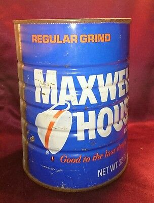 VINTAGE 2lb MAXWELL HOUSE COFFEE CAN Blue Tin Regular Grind