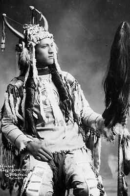 New 4x6 Native American Photo: Defiance, North American Indian in Native Dress