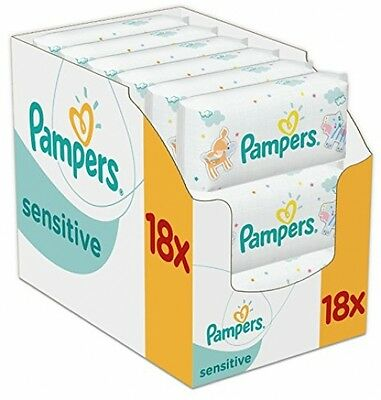 Pampers Sensitive Baby Wipes - Pack Of 18 (Total 1008 Wipes) New Fast Delivery