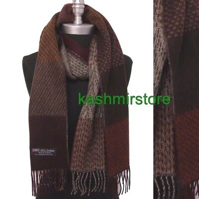 New 100% CASHMERE SCARF Check Plaid Brown Wine Scotland Soft Wool Wrap Thick