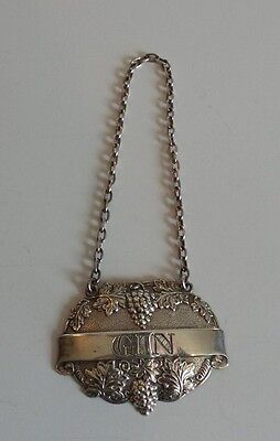 "Ornate Sterling Silver Embossed ""gin"" Liquor Bottle Label, Grape & Leaf Design"
