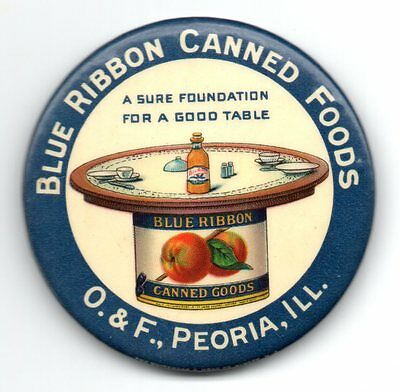 BLUE RIBBON CANNED FOODS O.&F., Peoria, ILL Pocket Advertising Mirror