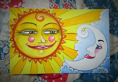 Original Fantasy Art Mini Watercolor Painting - Sun & Moon - 4x6 OSWOA