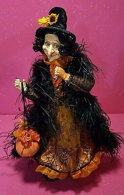 """High-End 25"""" Curly-Haired Witch With Gourds Soft Sculpture Poseable Doll Euc"""