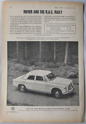 1962 Rover and the RAC rally Original advert