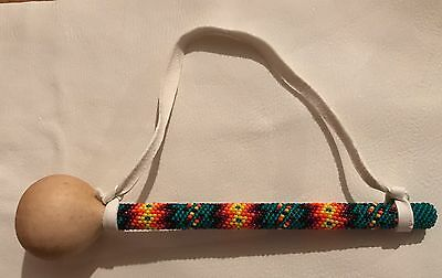 Awesome Small Native America Lakota Sioux Beaded Gourd Rattle Wall Hanging