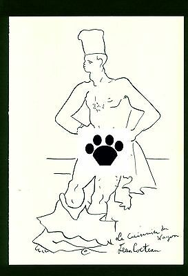 JEAN COCTEAU - drawing on original paper of 40's - picasso - CENSORED!!