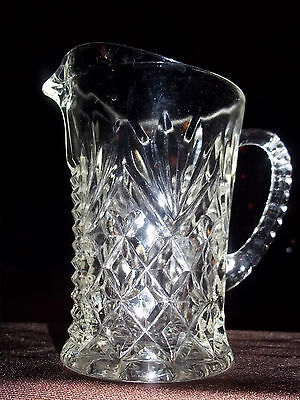 Anchor Hocking Vtg. Small Glass Pitcher, Early American Prescut,Pineapple Design