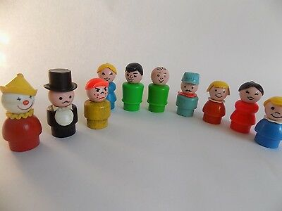 Vintage Toys Fisher Price Little People Wooden and Plastic Conductor Clown Boys