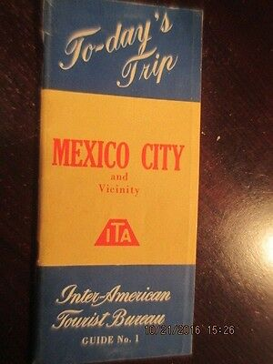 Vintage 1953 ITA Mexico City Tourist Bureau travel guide book and map