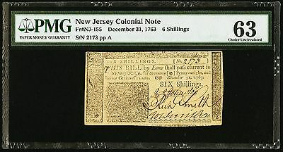 1763 New Jersey 6 Shillings Colonial Currency PMG 63