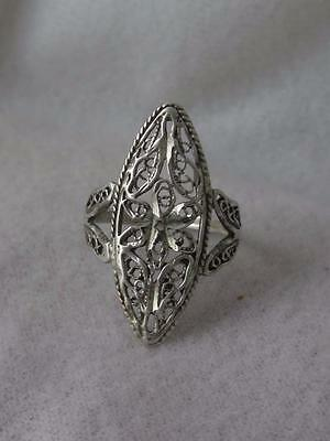 "Signed Jc Sterling Silver 1 1/16"" Filigree Marquise Ring - Size 6.75"