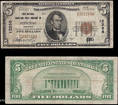 Pontiac, MI - $20 1929 Ty. 1 First NB & TC Ch. # 12288, Toughter city to find