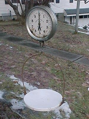 ANTIQUE New York Scale One Side GLASS FACE HANGING PRODUCE SCALE 30 LBS CAP