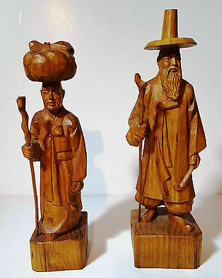 Two Antique Hand Carved Wooden Korean Figurines