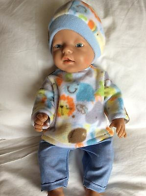 "Doll Clothes to fit 17"" Baby Born doll ~ 3 piece set ~ Blue / Zoo Animals"