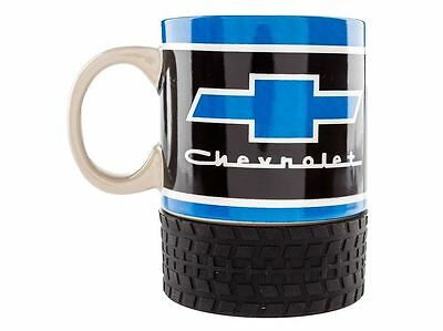 "CHEVROLET LOGO COLLECTIBLE COFFEE MUG w/RUBBER TIRE BASE ""CHEVROLET"" CHEVY LOGO"