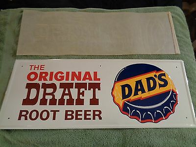 BEAUTIFUL VINTAGE DADS ROOTBEER TIN SODA SIGN & rice wax cover sheet