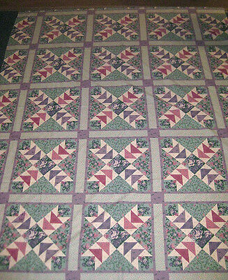 """WILD GOOSE CHASE Cheater Quilt Top  100% Cotton Fabric, 74"""" x 90"""", Springs"""