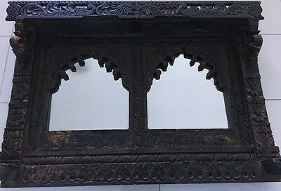 Antique hand-carved Indian palace window frame mirror