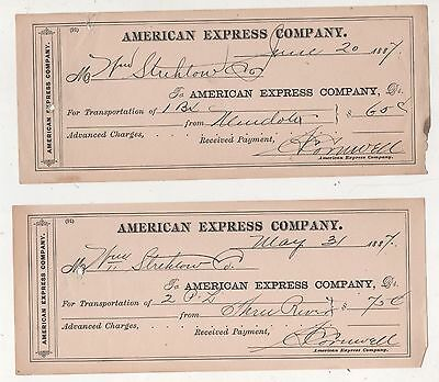 Lot of 2 receipts- American Express Company 1887- Three River