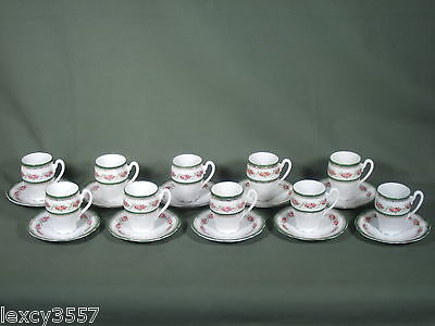 VINTAGE 20pcs C.TIELSCH CUPS AND SAUCERS WITH GREEN & GOLD TRIM MADE IN GERMANY