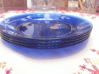 Princess House Heritage Blue Luncheon Plates Set Of Four(4)