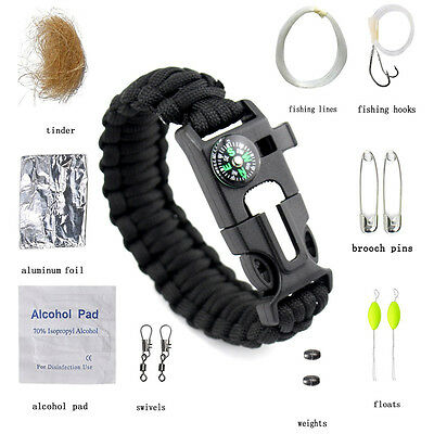 10-in-1 Multi-purpose 550 Paracord Bracelet Emergency Survival Kit Fishing Tools
