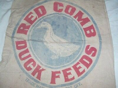 Vintage Red Comb Duck Feeds Cloth Sack: Duck Graphic, Chicago, Ill