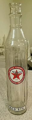 New Texaco 574 Glass Oil Bottle 1 Quart Petroleum Products Advertising Sign