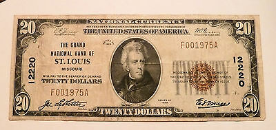 National Currency Banknote Saint Louis MO Grand National Series 1929 #12220 VF