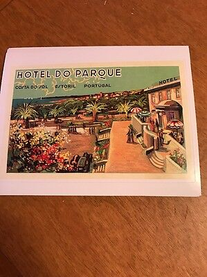 Vintage Luggage Labels Hotel Do Parque In Portugal Reproduction