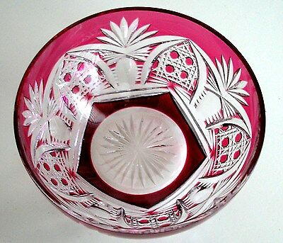 Val St Lambert Richepin Cranberry Cased Cut Clear Crystal Bowl