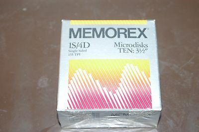 """Memorex 1S4D Single Sided 10 Pack 3 1/2"""" Microdiskettes BRAND NEW"""
