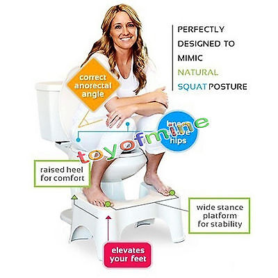 "The Original Bathroom Toilet Stool White 9"" Squaty Potty Step Safety Accessories"