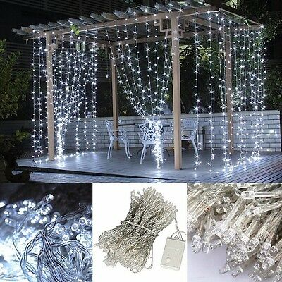3M x 3m 300 LED Fairy String Light Curtain Xmas Wedding Party Home Decoration
